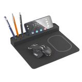 Док-станция настольная Powerfolio с беспроводным зарядным устройством, черный фото