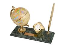 Настольный прибор Международный бизнес, золотой, зеленый фото
