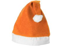 Шапка Новогодняя, белый/ оранжевый фото