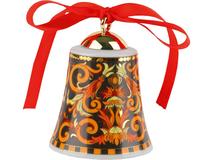 Новогодний колокольчик Barocco, черный, золотой, оранжевый, разноцветный фото