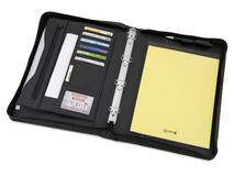 Папка для документов на молнии с блокнотом и регистратором Ebony А4, черная фото
