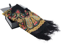 Павловопосадский платок, черный, разноцветный фото