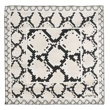 Платок шелковый Pitone Cream, черный, бежевый фото