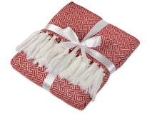 Плед акриловый с белой бахромой Tassel, красный фото