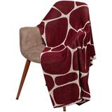 Плед Giraffe, бежевый с бордовым фото
