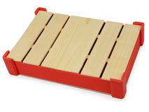 Подарочная деревянная коробка, коричневый/ красный фото