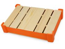 Подарочная деревянная коробка, оранжевый фото