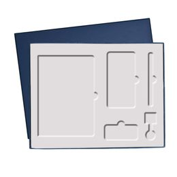 Подарочная коробка Grand под ежедневник, ручку, зарядное устройство и кабель, синяя, 360*295 мм фото