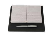 Подарочный набор: блокнот А5, ручка шариковая, серебристый фото