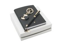 Подарочный набор: блокнот А7, брелок, шариковая ручка, тёмно-серый фото