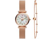 Подарочный набор: часы наручные женские, браслет, белый/ золотой фото