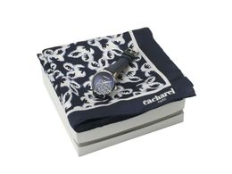 Подарочный набор: часы наручные женские, шелковый платок, чёрно-белый фото