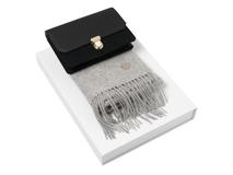 Подарочный набор: дамский клатч, шарф, чёрный/серый фото