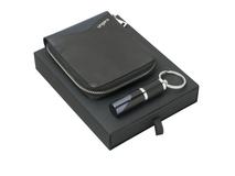 Подарочный набор Lapo: кошелек с застежкой-молнией, брелок, чёрно-синий фото