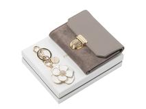 Подарочный набор: мини-кошелек, брелок, бежевый фото