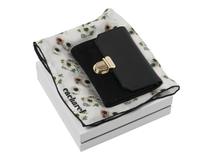 Подарочный набор: мини-кошелек, шелковый платок, чёрно-белый фото