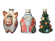 Подарочный набор Новогодний: три мини-штофа, разноцветный фото
