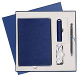 Набор подарочный Portobello Rain: шариковая ручка iP, ежедневник недатированный Portobello Trend Rain А5, внешний аккумулятор Travel PB 2000 mAh, темно-синий/ хром фото