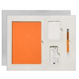Подарочный набор Portobello Sky: Ежедневник недатированный А5, Ручка, Power Bank, оранжево-белый фото