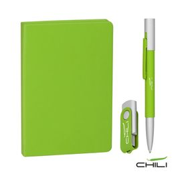 Подарочный набор Ровелла с блокнотом А6, покрытие soft touch, зелёный фото