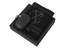 Подарочный набор: шарф шелковый, портативное зарядное устройство 7800 mAh, чёрный фото