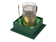 Подстаканник с хрустальным стаканом, золотистый фото