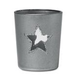 Подсвечник со свечой, декорирован звездой, серый меланж фото