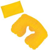 Подушка надувная дорожная в футляре, желтый, желтый фото