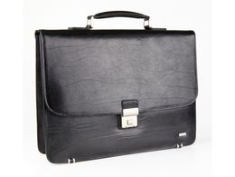 Портфель Diplomat, отделение на молнии, кольцо для ключей, черный фото