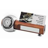 Прибор настольный: часы и подставка для визиток фото