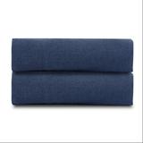 Простыня из стираного льна темно-синего цвета, синий фото