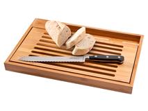 Разделочная доска и нож для хлеба, черный, серый, коричневый фото