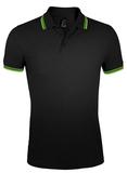 Рубашка поло мужская Sol's Pasadena Men 200, черная/зеленая фото