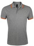 Рубашка поло мужская Sol's Pasadena Men 200, серый меланж/оранжевая фото