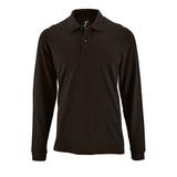 Рубашка поло мужская Sol's Perfect LSL Men, длинные рукава, черная фото