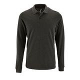 Рубашка поло мужская Sol's Perfect LSL Men, длинные рукава, черный меланж фото