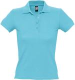 Рубашка поло женская PEOPLE 210, бирюзовая фото