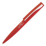 Ручка шариковая Dial, красный/серебристый, прорезиненная поверхность фото