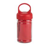 Полотенце спортивное в пластиковом боксе с карабином ACTIVE, красный фото