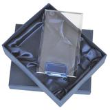 Стела наградная Прямоугольник в подарочной упаковке, прозрачный, синий фото