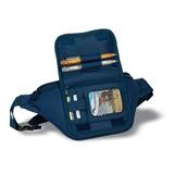 Сумка поясная,  с отделениями для кредитных карт и ручек, синий фото