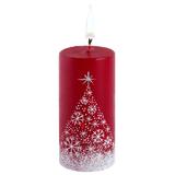 Свеча ручной работы Снежный лес, в форме цилиндра фото