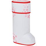 Упаковка подарочная Валенок с крышкой, белый/красный фото
