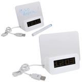 USB разветвитель на 2 порта с часами и полем для заметок, белый фото