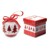 Елочный шар в коробке Елка, красный/белый фото