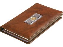 Записная книжка с визитницей Голова льва Luigi Pesaresi, серебряный/серый, коричневый фото