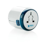 Заземленный адаптер для розеток World Travel, синий, белый фото