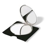Зеркальце складное круглое в чехле, серебряный фото