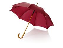 Зонт трость полуавтомат Kyle с изогнутой деревянной ручкой, бордовый фото