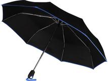 Зонт складной Уоки, чёрный с синей каймой фото